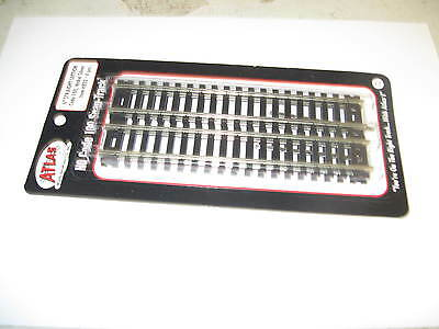 "Atlas  Ho Scale Pkt 6"" Straight Track Code 100 Nickel Silver"
