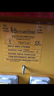 Electro-Wind Site Transformer M3100C 10kVA Used In Good Condition