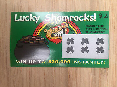 Joke (FAKE) LUCKY SHAMROCKS Instant Scratchie Lottery Ticket, every one wins!