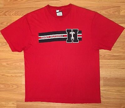 7269d7dcde VTG 90S TOMMY Hilfiger Mens Spell Out Red S/S T-Shirt Sz Medium A2 ...