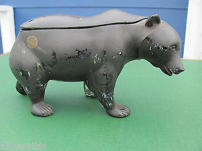 Rare J.C. Dowd and Co Pomade Barber Shop Co-Op Flint Glass Black Glass Bear Jar