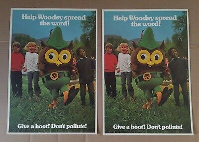 2 Vintage Woodsy Owl Give A Hoot Don't Pollute Posters 70's