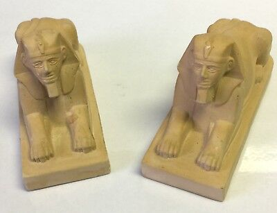 2 Vintage Sphinx Figurines Miniature Matching Egyptian Soap Stone Sculptures