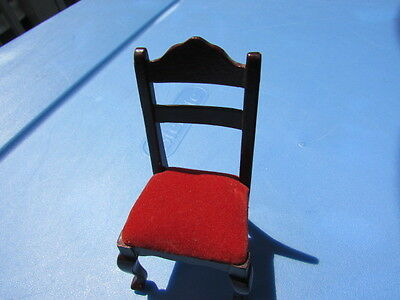 "Dollhouse Victorian Carved Mahogany Velvet Chair 3"" Dining Room Vintage"