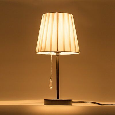 DONGLAIMEI Fabric Shade Table Lamp with Pull Chain Switch and Metal Lamp Base,