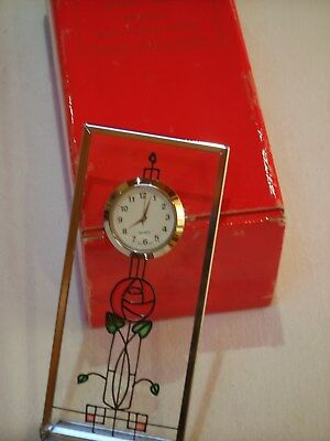 Small Rennie Mackintosh Clock with Silver Steel Stand and Rose emblem Décor.