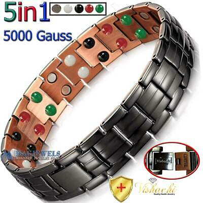 Pure Solid Copper Black Magnetic Chain Bracelet Men Arthritis +Adjuster Pc08V
