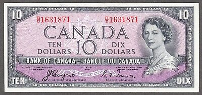 1954 Bank of Canada - $10.00 Devil Face Note - EF - Coyne Towers B/D 1631871