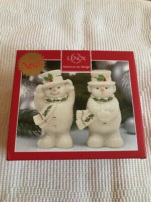 New Lenox Happy Holly Days Snowmen Salt And Pepper Shakers