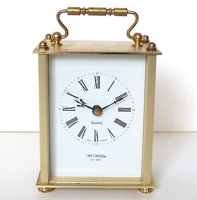 Wm. Widdop Brass Carriage Clock Kienzle Quartz Movement Roman Numerals Dial Face