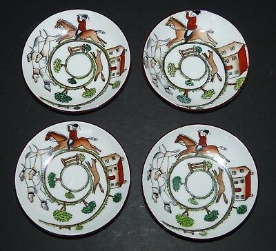 "4 Vintage Crown Staffordshire China 3.5"" Pin Dishes Hunting Scene Hand Painted"