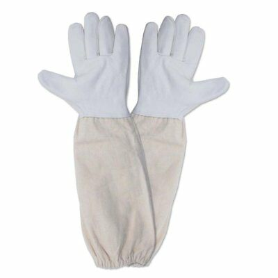 Beekeeping Bee Gloves Soft White Goats Leather with Cotton Gauntlets 3 Sizes