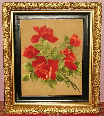 """ANTIQUE 1800's HAND MADE CREWELWORK FLORAL PANEL 20"""" X 15"""" ON LINEN FRAMED"""