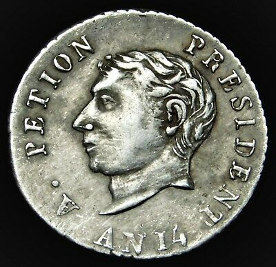 """Haiti 1817 (""""AN 14"""") 25 Centimes Silver Coin in VERY FINE  Condition"""