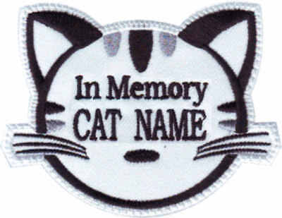 In Memory Custom Cat Face Name ( White ) Embroidered Patch