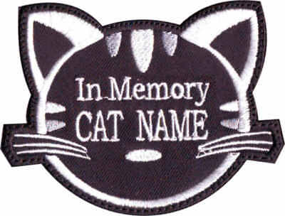 In Memory Custom Cat Face Name ( Black ) Embroidered Patch