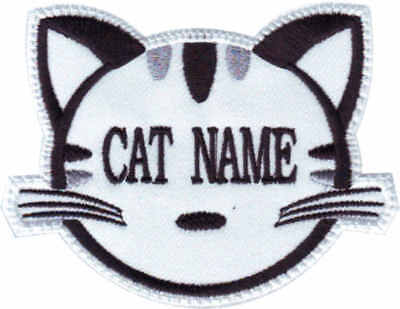 Custom Cat Face Name ( White ) Embroidered Patch