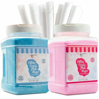 The Candery Cotton Candy Floss Sugar (2-Pack) Includes 100 Premium Cones |
