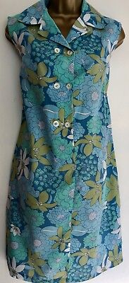 TRUE VINTAGE 60s 70s BEACH SUN DRESS COVER UP FLORAL MOD / SCOOTER / RETRO