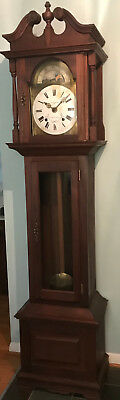 Vintage Solid Mahogany Grandfather Clock, Antique French Movement, For Restoring