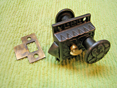 Antique Ornate Eastlake Cast Iron Porch Door Cupboard Cabinet Latch - SARGENT