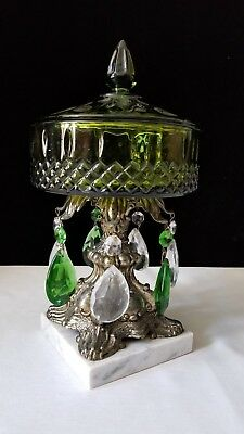 Vintage Green Glass Compote Candy Dish with Marble Base Green White Prisms