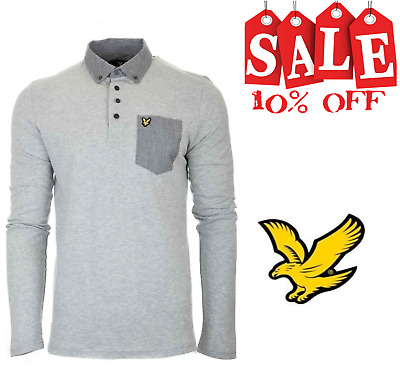 LYLE&SCOTT Mens Long Sleeve Woven Collar Polo Shirt Grey (LP600V-D24)