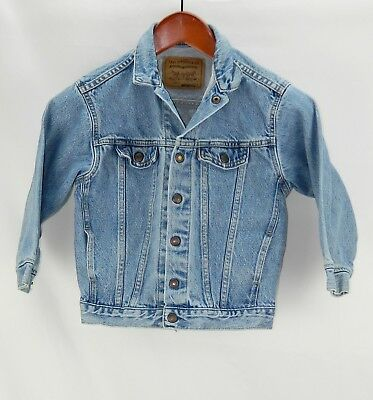 Vintage Unisex Boys Girls Levi's Denim Jean Jacket 100% Cotton size 7X made USA