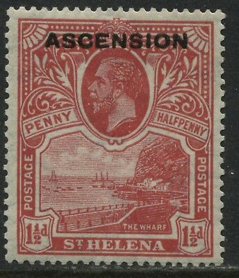 Ascension overprinted 1922 KGV 1 1/2d rose red mint o.g.