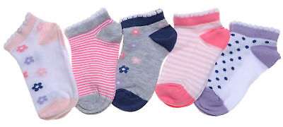 5 pairs of Flowers, Stripes & Spots Baby Girls Trainer socks