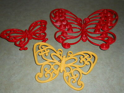 Vintage 1978 Homco Home Interiors Syroco Set Of 3 Colorful  Butterflies