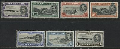 Ascension 1938-44 KGVI values 1/2d-1/ perf 13 1/2 unmounted mint NH