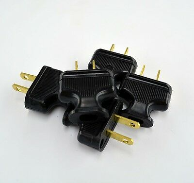 5-Pack Vintage BLACK Antique Style Electrical Plug - Lamp Cord - Lamp Rewire