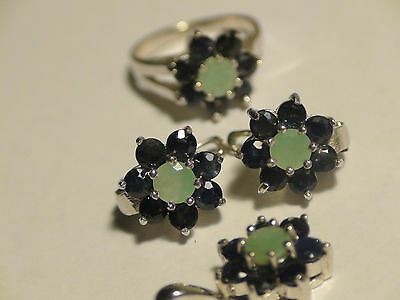 Breathtaking! Natural Sapphire,emerald Earrings 925 Sterling Silver. $450