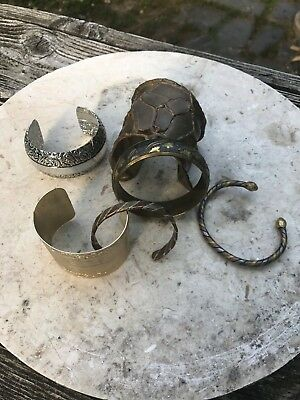 Lot Of 6 Estate Piece Brass, Copper & Other Metal Fashion Bangles, Pre Owned