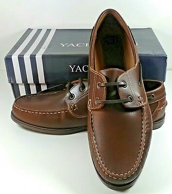Mens Yachtsman Leather Boat Deck Sailing Casual Lace Up Shoes Loafers size 13,14