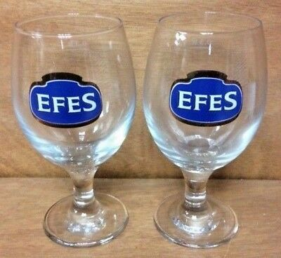 EFES Pilsener Turkish Beer Glass .3 L - PREMIUM QUALITY ~ SET OF 2 GLASSES ~ NEW