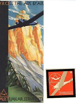 Austrian Air Service  Timetable Schedule Early 1930's Olag Atelier Waldner Art
