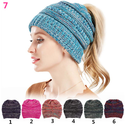 Hot BeanieTail Soft Stretch Cable Knit Messy High Bun Ponytail Beanie Hat
