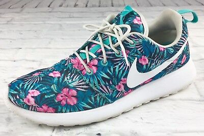 purchase cheap 33c0a 75a67 Nike Roshe Run One Print Floral Aloha Hawaii 833620 Premium Teal Pink Size  8.5