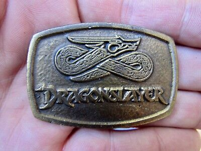 Vtg DRAGONSLAYER Belt Buckle 1981 Movie Poster Paramount PROMO Brass RARE VG++