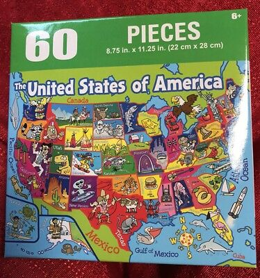 60PC PUZZLE UNITED STATES OF AMERICA MAP USA STATE CAPITALS & THEME ...