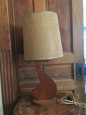 Vintage Berger Mid Century Modern Wood And Brass Table Lamp 95 00