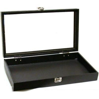 Jewelry Showcase Display Case Glass Lid Top Portable Travel Box Countertop Black
