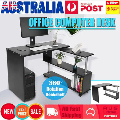 Corner Rotary Computer Desk Table Study Bookshelf Work Student Office Furniture