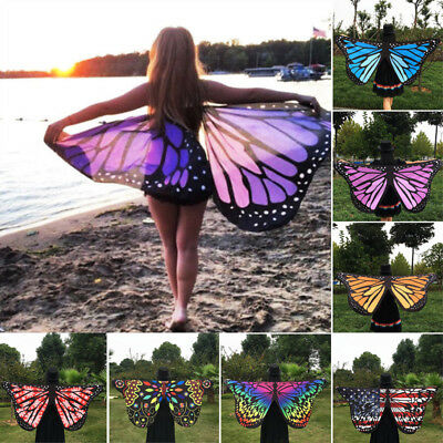 Women Pixie Shawl Butterfly Dress Colorful Soft Girls Wings Costume Adult Fairy