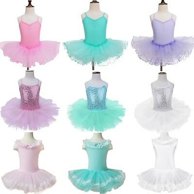 Toddler Girls Kids Ballet Dance Gymnastics Leotard Tutu Dress Dancewear Costume