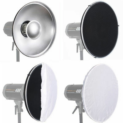 Set Beauty Dish 42cm für Systemblitz + Grid & Halterung Bowens S-Type