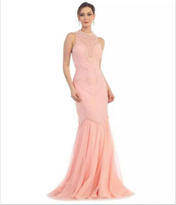 a14e710039e5 2018 Pink Beaded Pearls Mermaid Prom Evening Party Dress Celebrity Formal  Gown