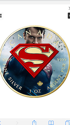 2016 1 Oz Ounce Canadian Silver Superman Coin .9999 Colorized Gilded Blue